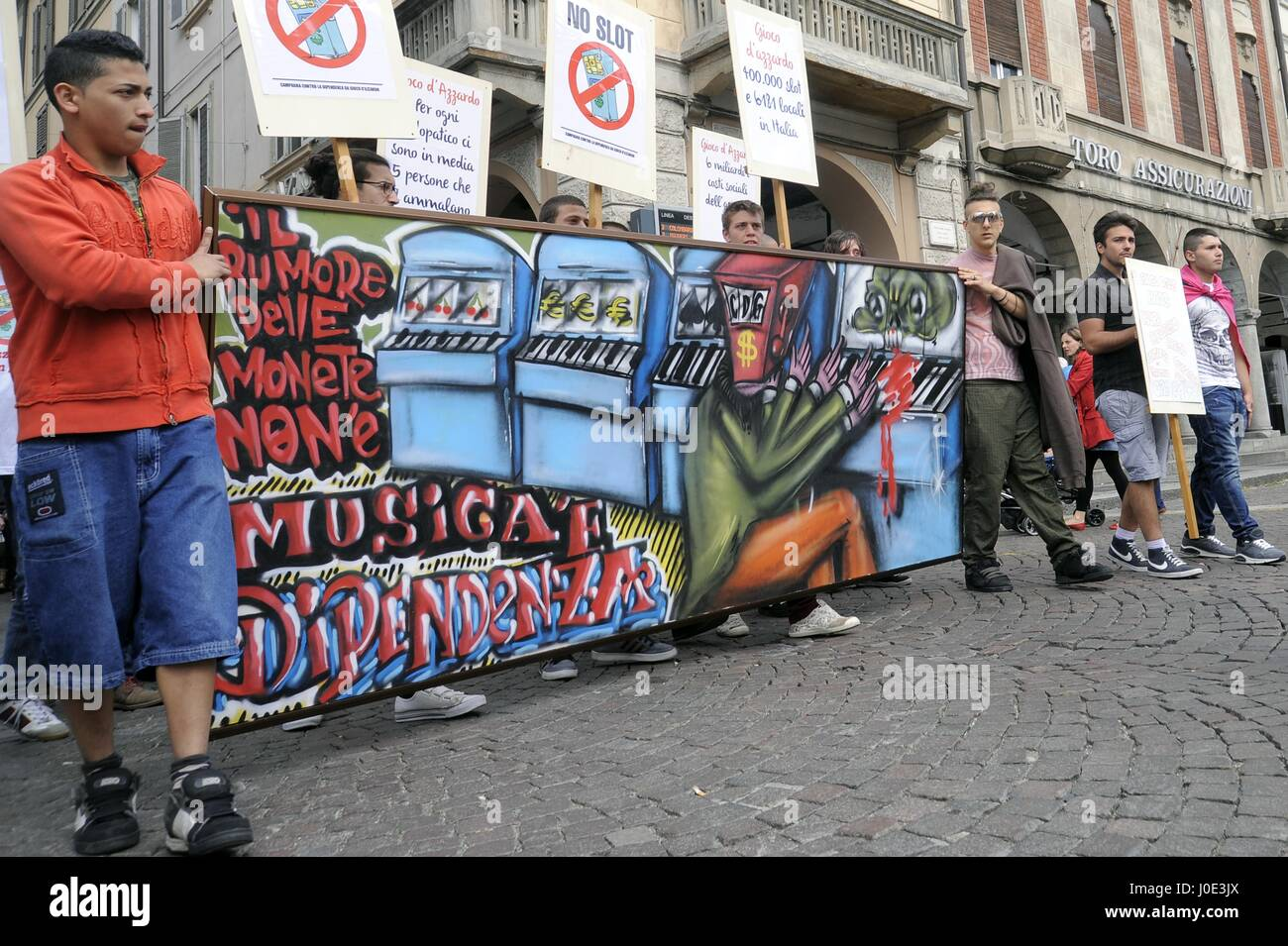 Pavia Italy), demonstration against the addiction to online games and video poker and against control of the Mafia - Stock Image