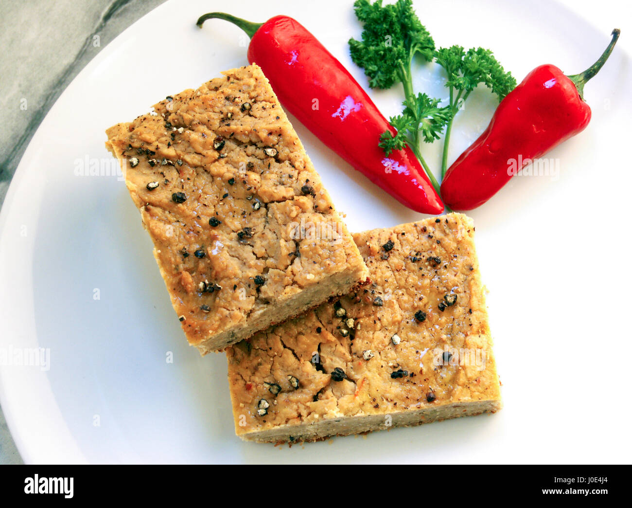 Savoury pastry with bean and chilli - Stock Image
