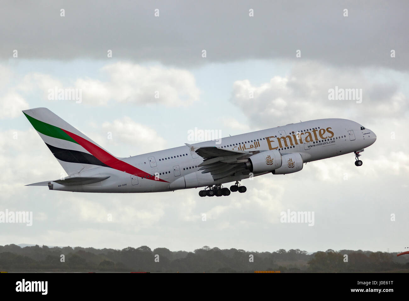 Emirates Airbus A380-800 taking off  In flight Stock Photo
