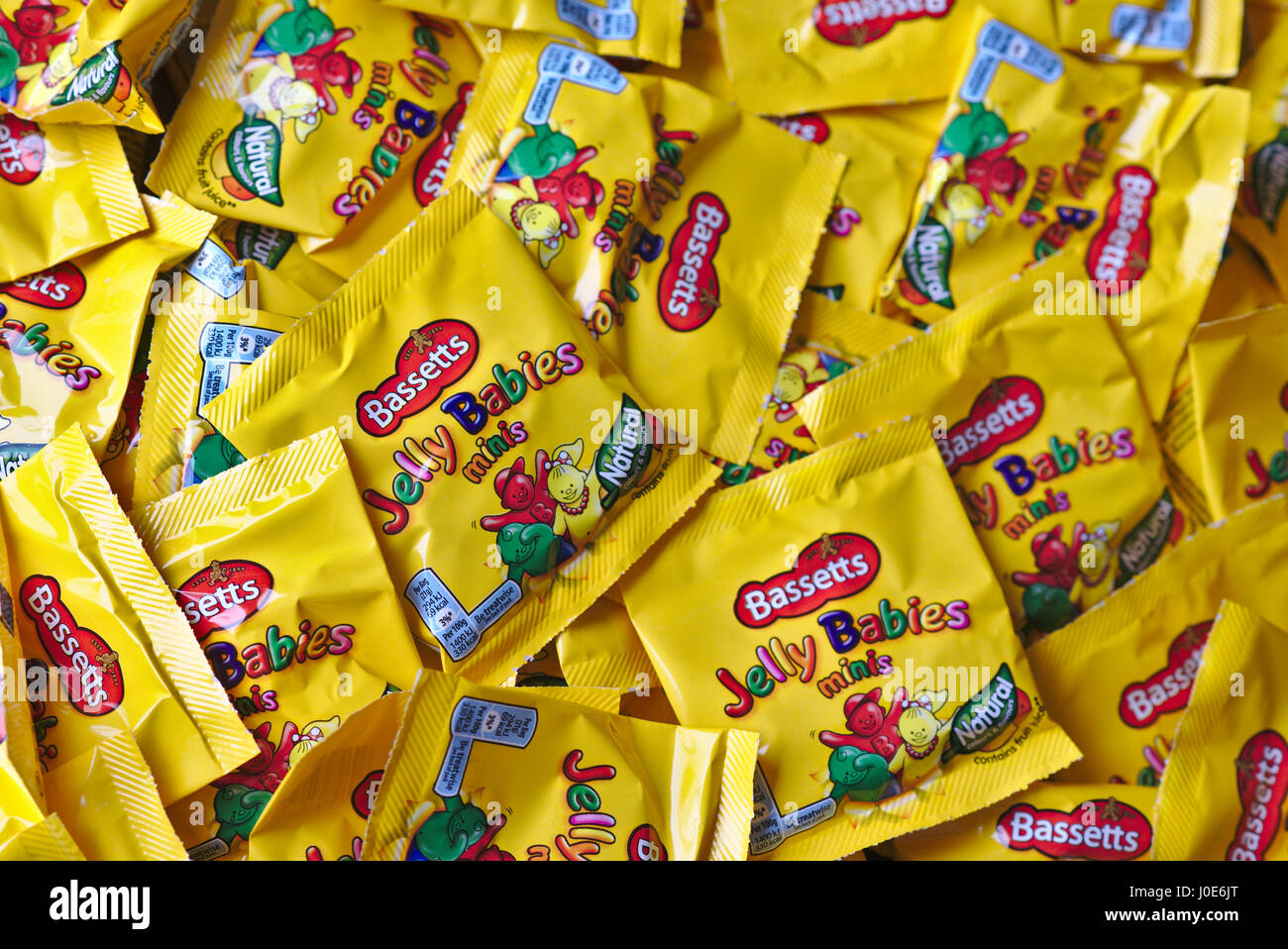 Bassetts Jelly Babies (mini) in a pile Stock Photo