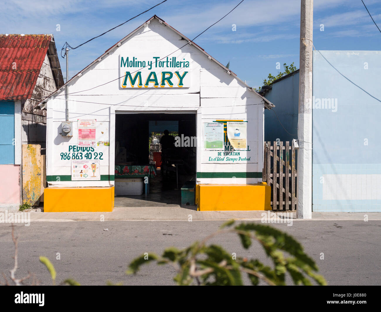 Molino y Tortilleria Mary. A corn flour mill and totillia factory in the small fishing village of San Felipe. San - Stock Image