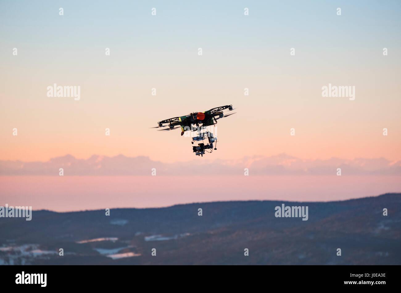 Flying drone, Großer Arber, Bavarian Forest, Lower Bavaria, Bavaria, Germany - Stock Image