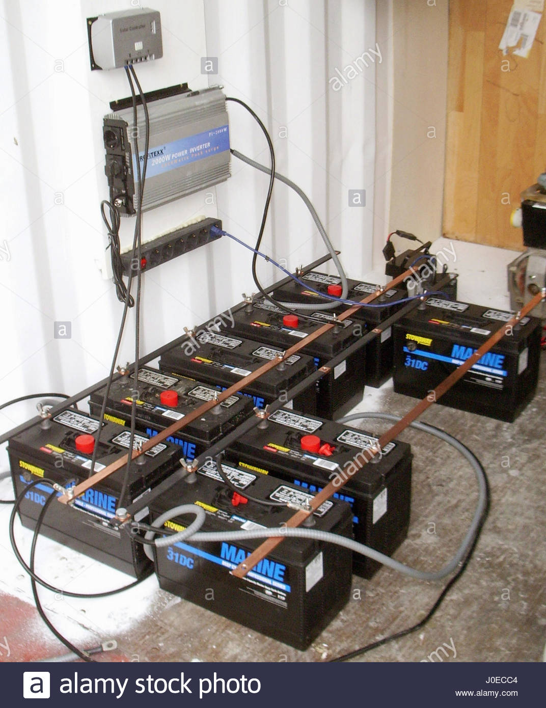 Europe, Greece, View Of 12 Volt Marine Car Batteries Used As Part Of