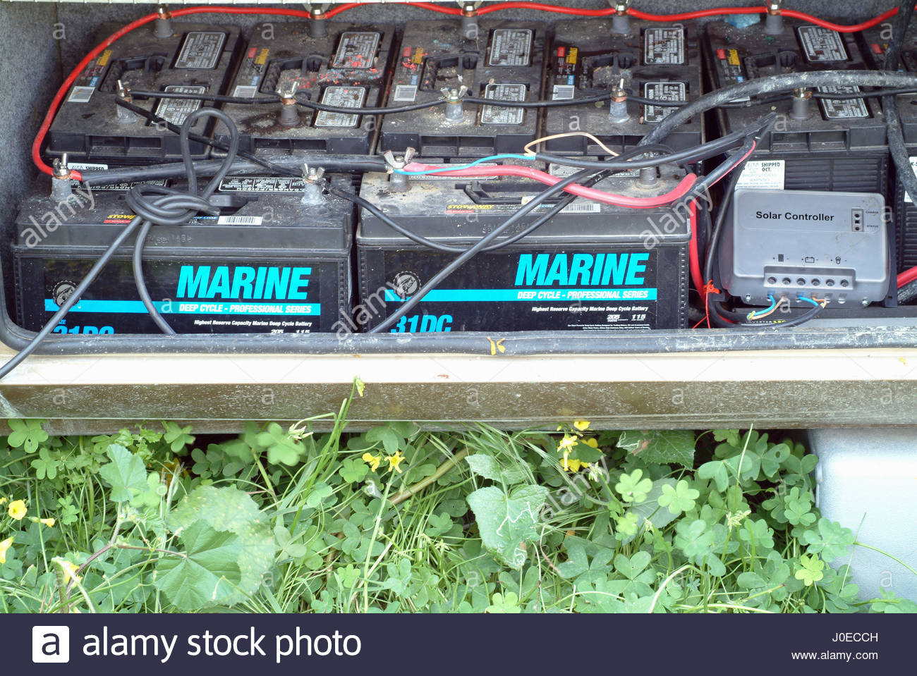 Europe, Greece, View Of 12 Volt Marine Car Batteries Used As