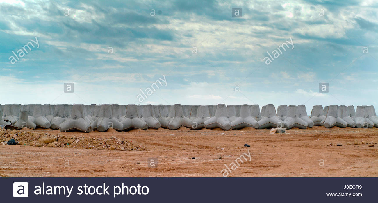 Africa, Sahara Desert, North Africa, Western Sahara Or Spanish Sahara (Occupied By Morocco), View Of Reinforced - Stock Image