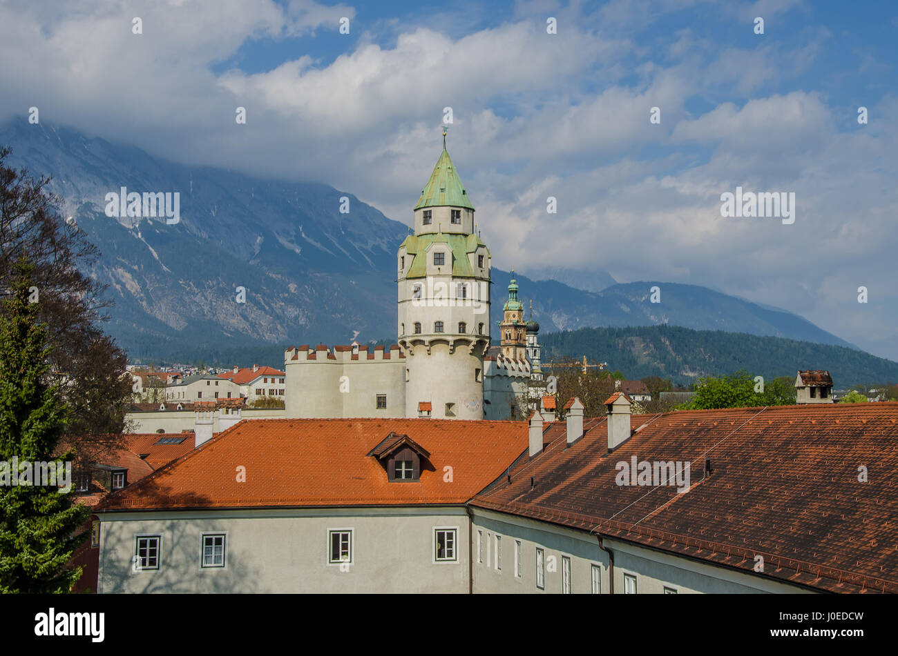 The historic town of Hall in Tyrol has a rich minting heritage. It has the distinction of being the cradle of the - Stock Image
