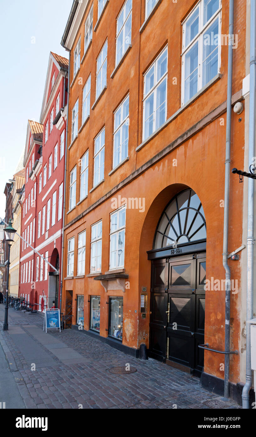 The Danish writer Hans Christian Andersen lived at 3 addresses in Nyhavn, Copenhagen,  from 1834 to 1875. Latest - Stock Image