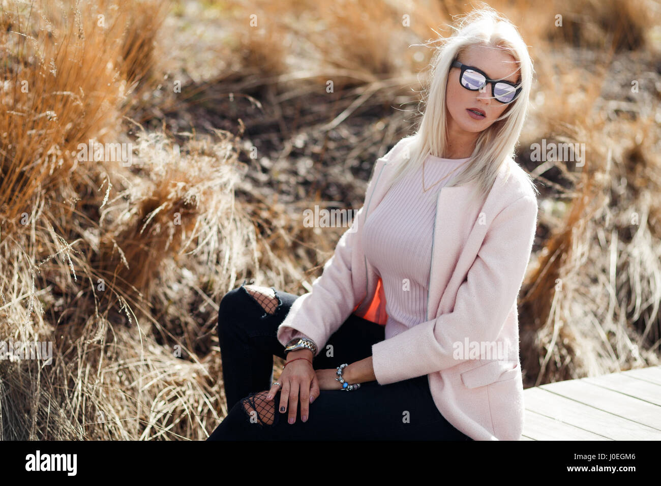 Beautiful long-haired woman in sunglasses - Stock Image