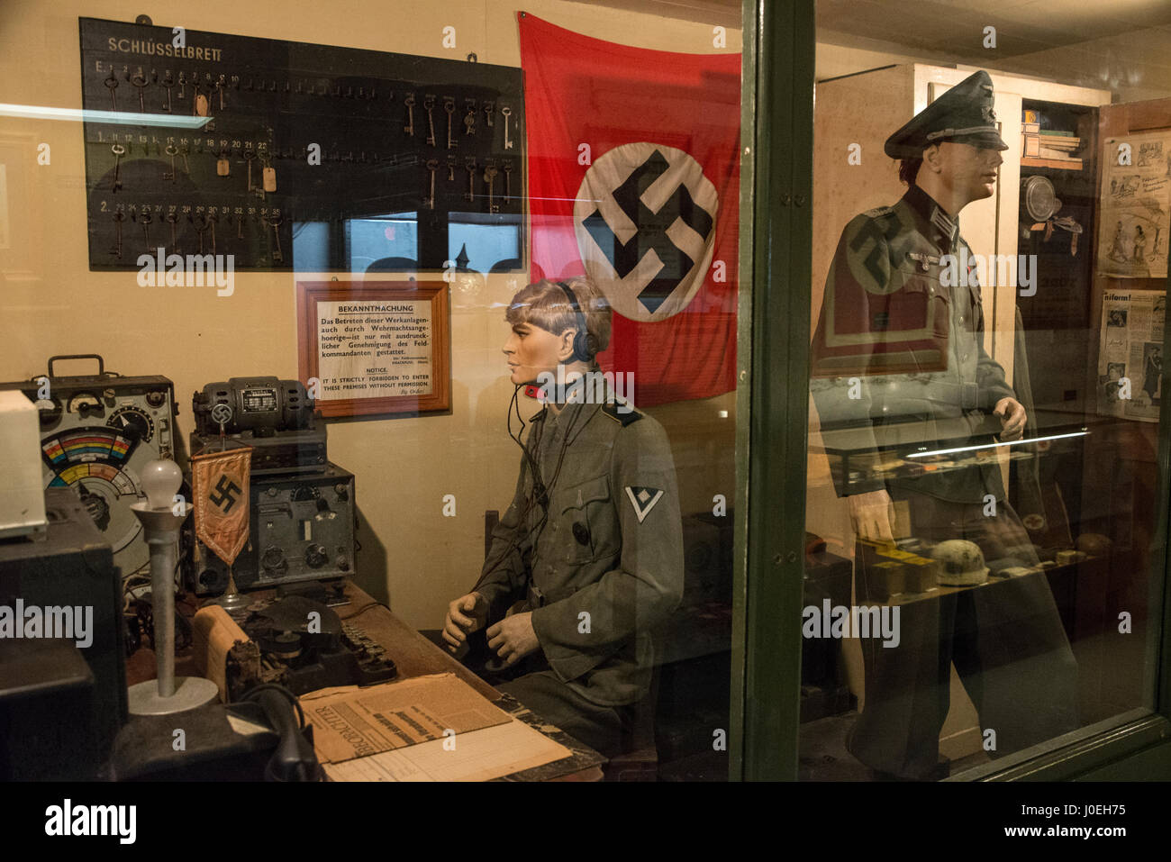 WW11 German radio station on display at the La Valette Underground Military museum in St.Peter Port in Guernsey - Stock Image