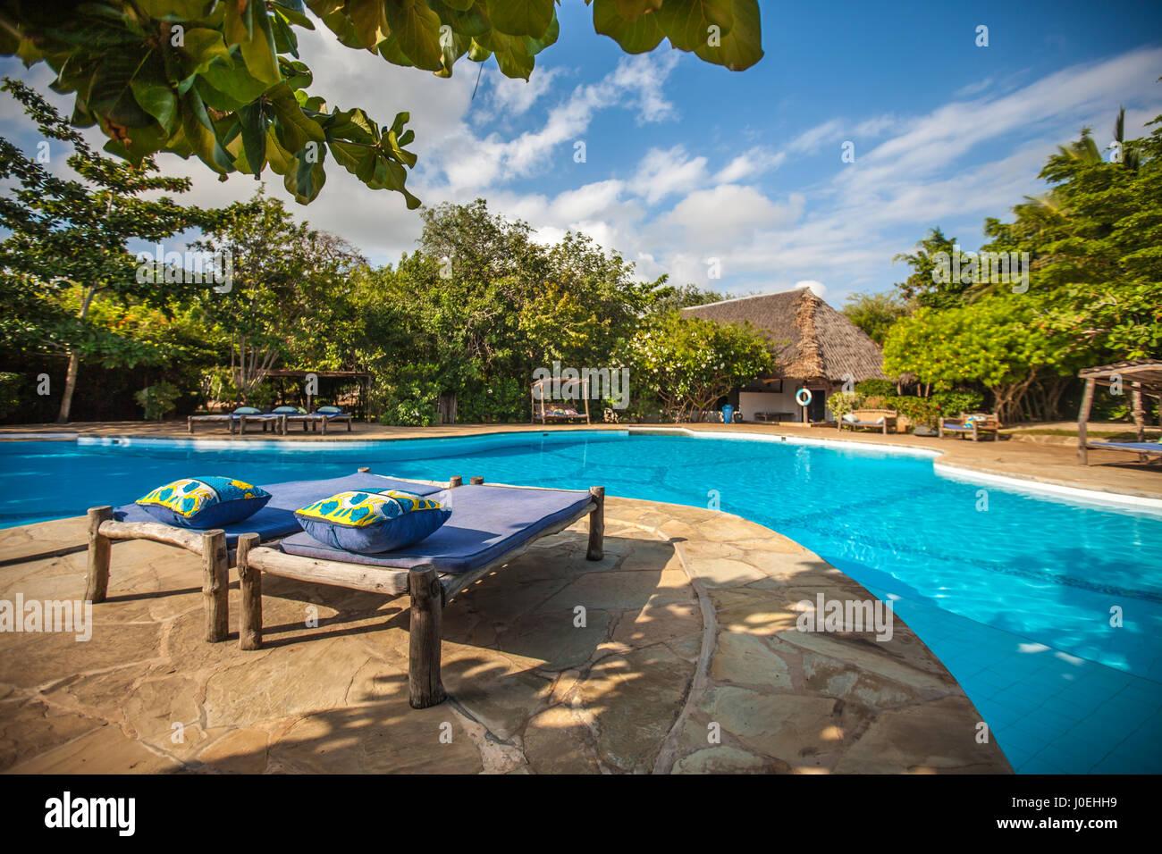 Kinondo Kweto luxury beach resort Diani Beach Kenya - Stock Image