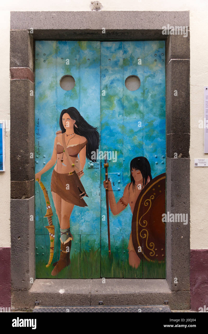 A painting of warrior tribespeople; part of a series of painted doorways from the 'Art of Open Doors' project, - Stock Image
