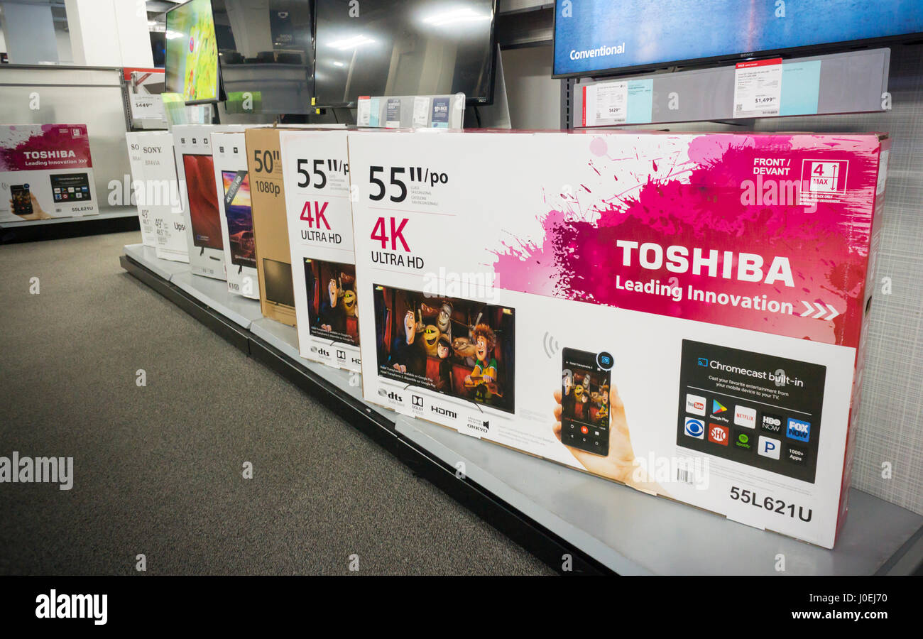 Boxes Of Toshiba Brand Flat Screen Televisions In A Best Buy Store