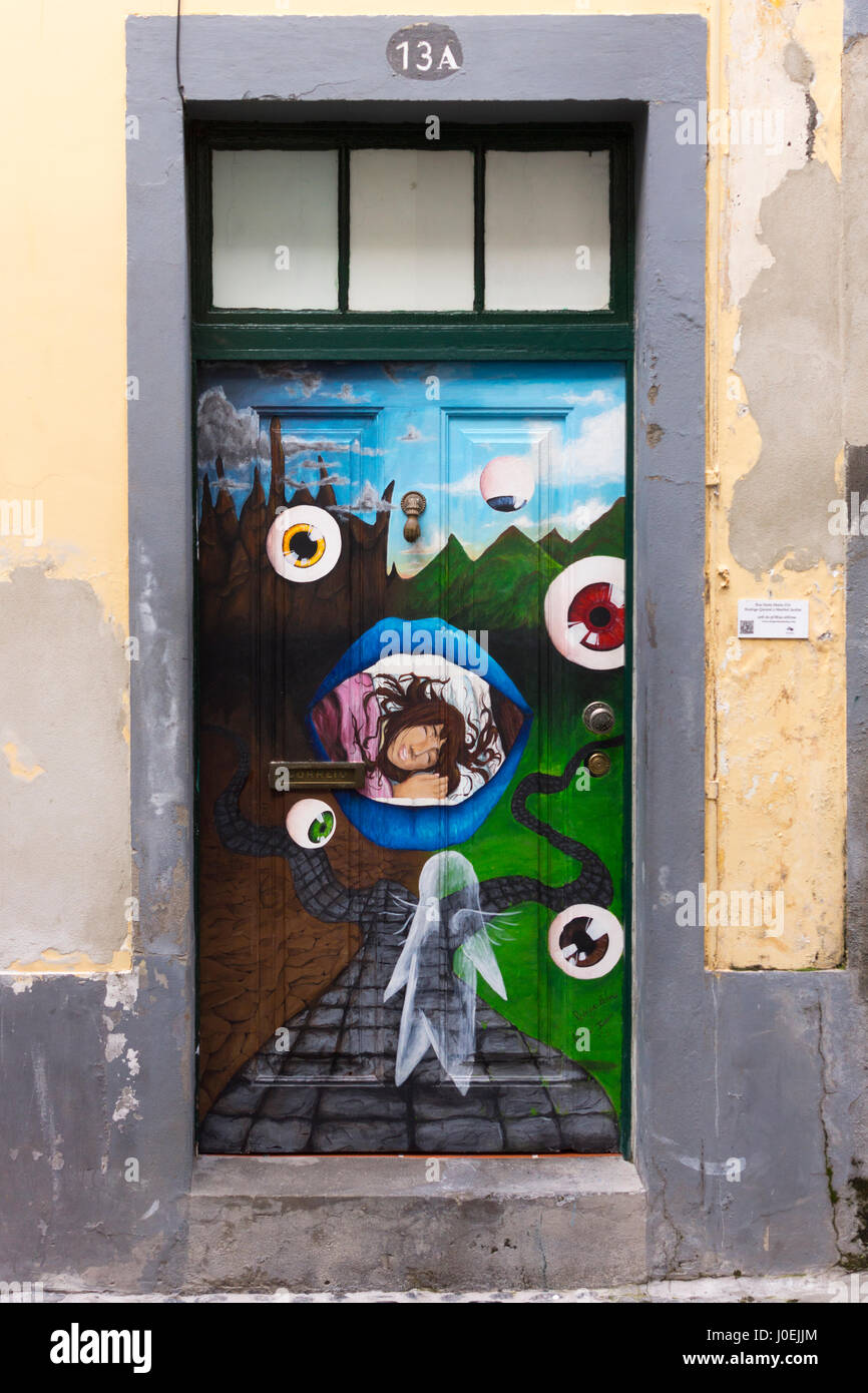 A surrealist painting of eyeballs; part of a series of painted doorways from the 'Art of Open Doors' project, - Stock Image