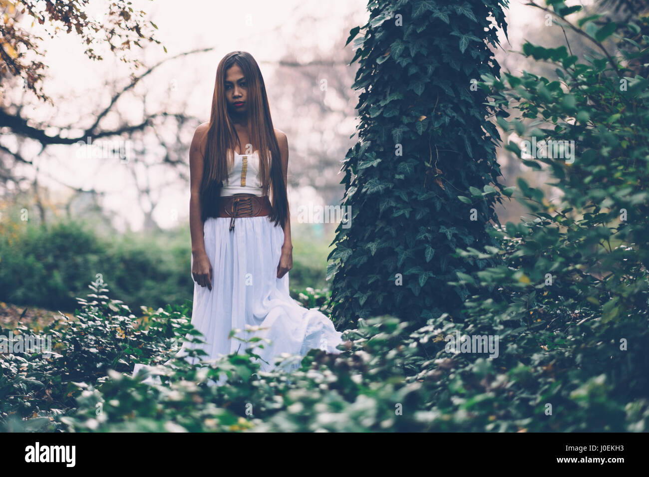 Beautiful wiccan girl, guardian of the mystical forest - Stock Image