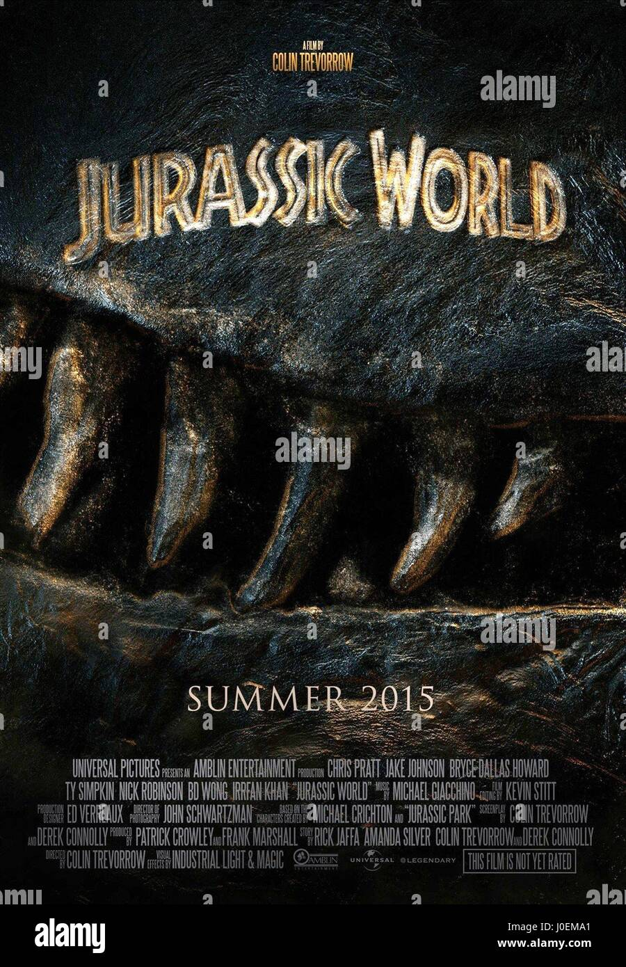 Movie Poster Jurassic World 2015 Stock Photo Alamy
