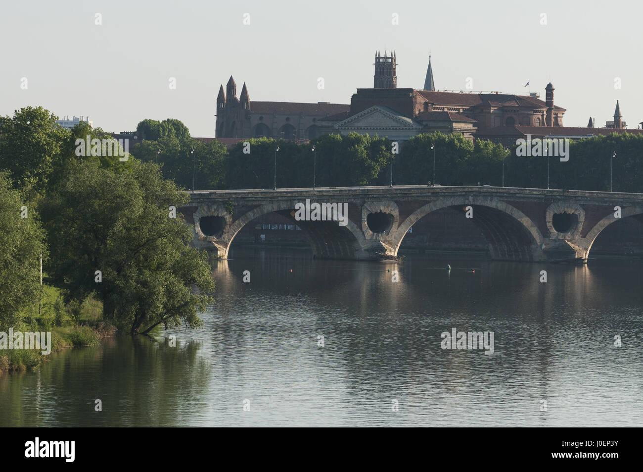 France, Toulouse, city with Pont Neuf and Basillica St Sernin - Stock Image