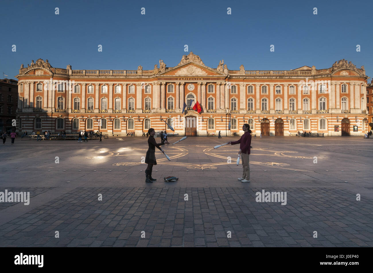 France, Toulouse, Capitole with jugglers - Stock Image
