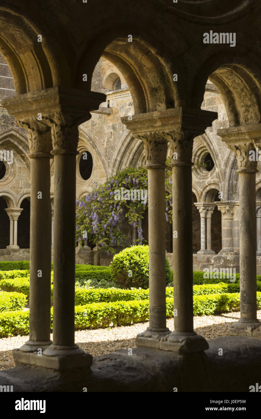 France, Narbonne, Fontfroide Abbey, cloister Stock Photo