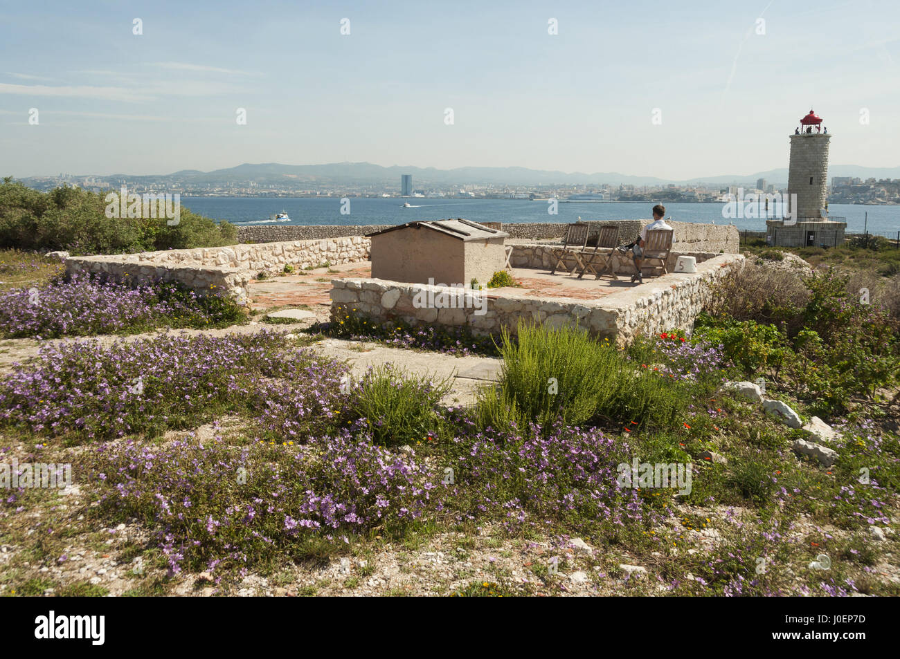 France, Marseille, Chateau d'If, island fortifications - Stock Image