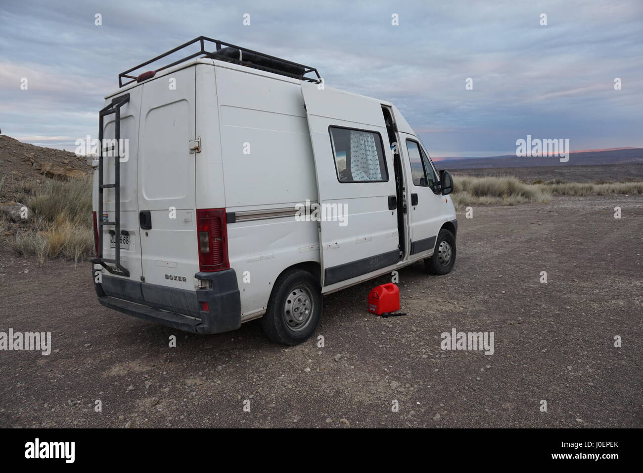 Our Peugeot Boxer motorhome camped in the Argentinian wilderness Stock Photo
