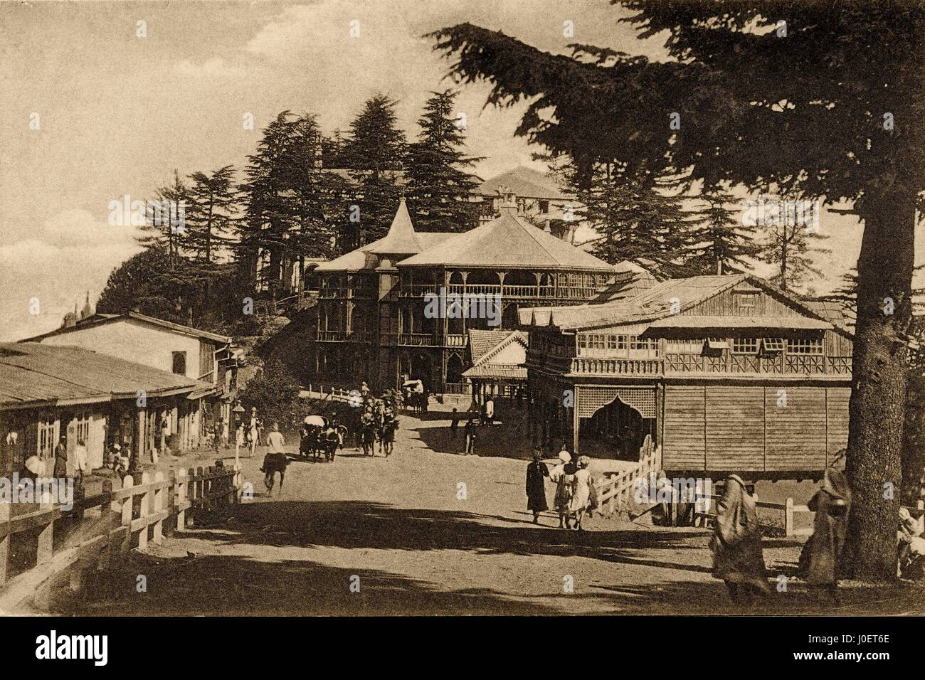 Vintage 1900s photo of post office, shimla, himachal pradesh, india, asia - Stock Image