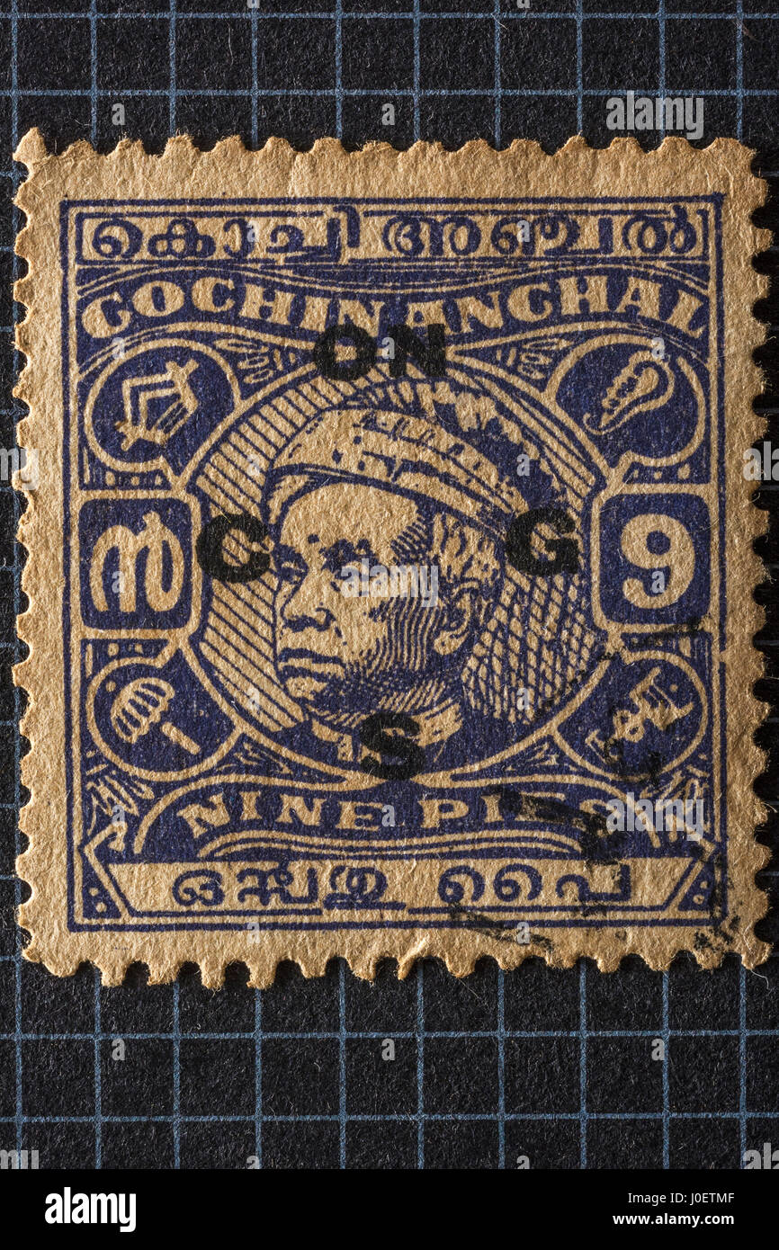 Cochin anchal stamps, india, asia - Stock Image