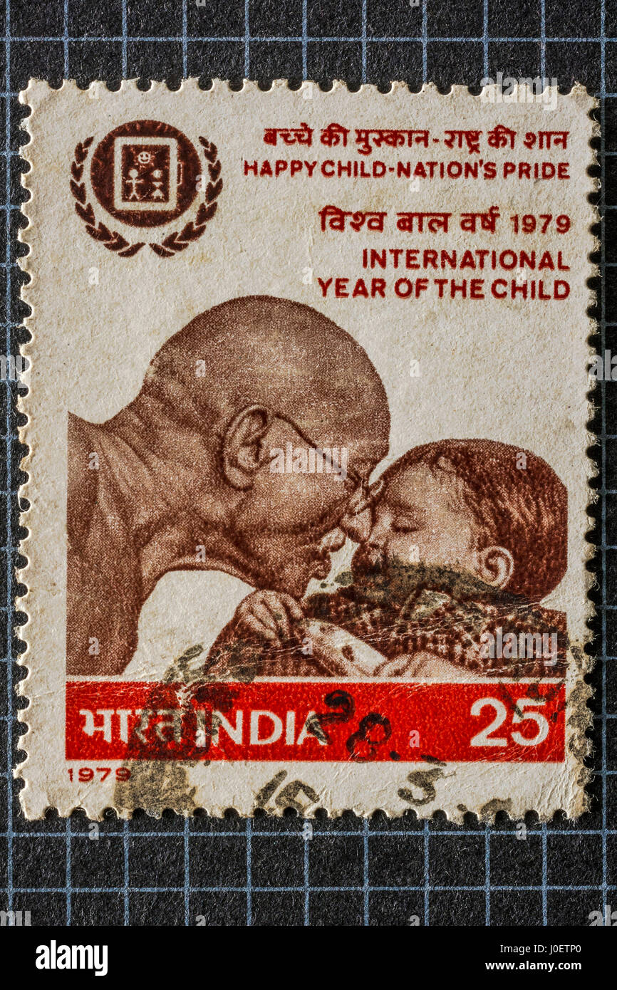 International year of child, postage stamps, india, asia - Stock Image