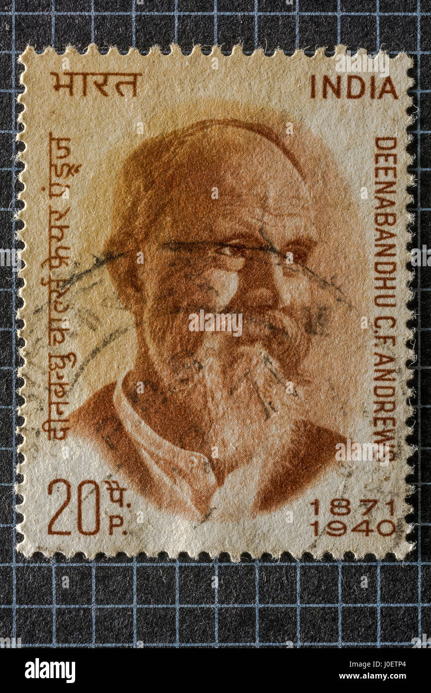 Deenabandhu c f andrews, postage stamps, india, asia - Stock Image