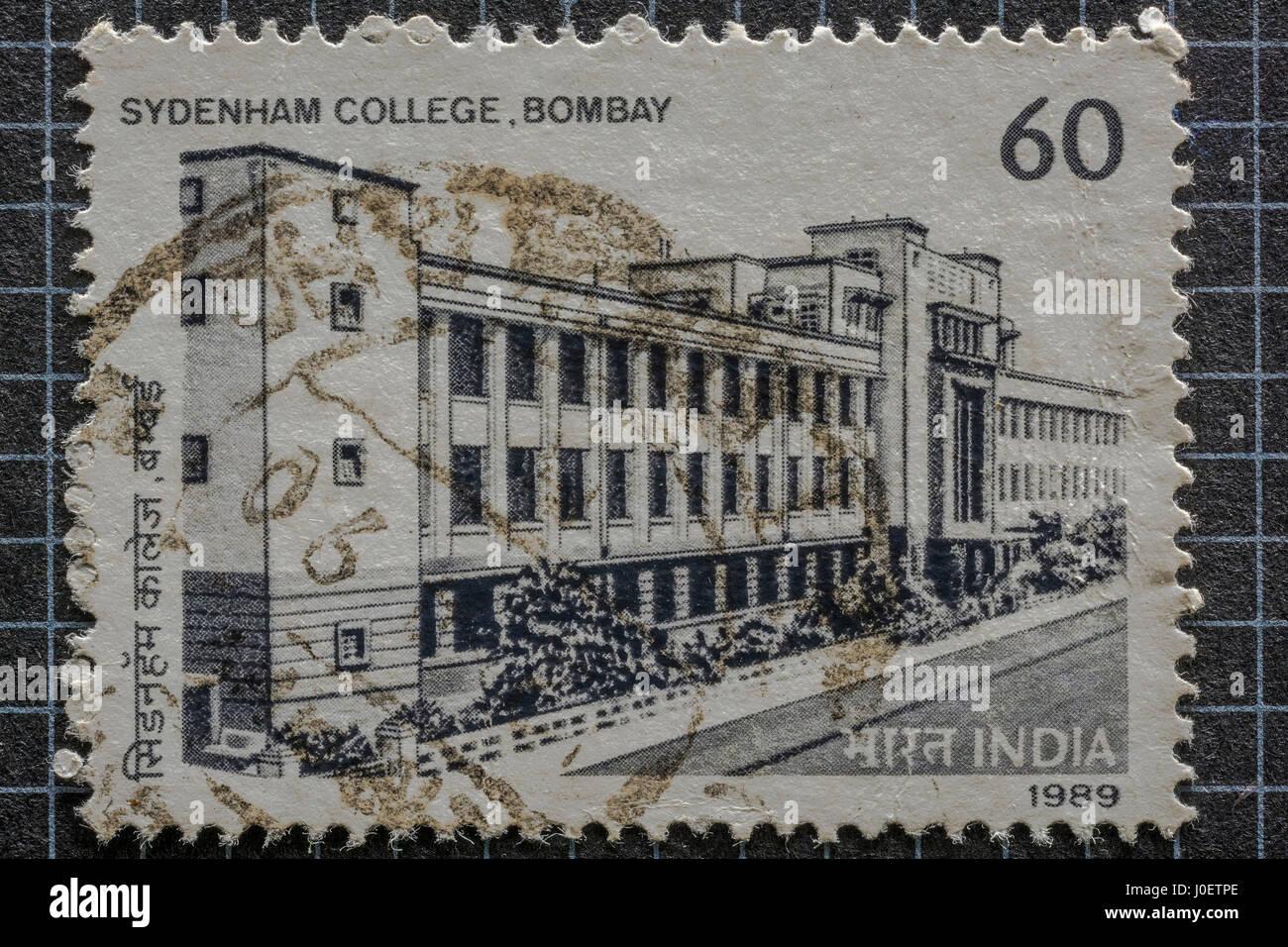 Sydenham college mumbai, postage stamps, india, asia - Stock Image
