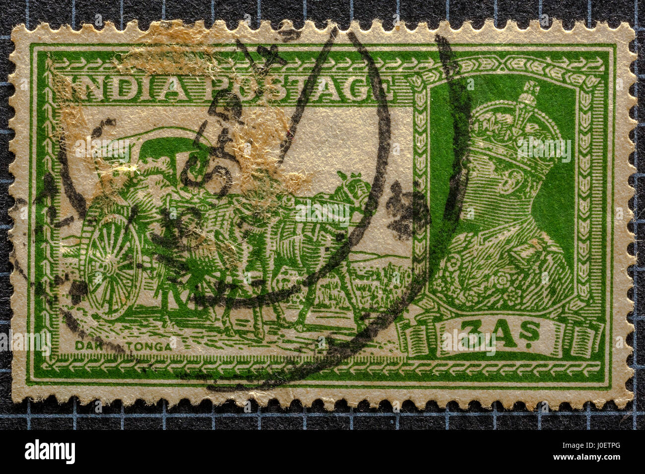Transport dak tonga 3as, postage stamps, india, asia - Stock Image