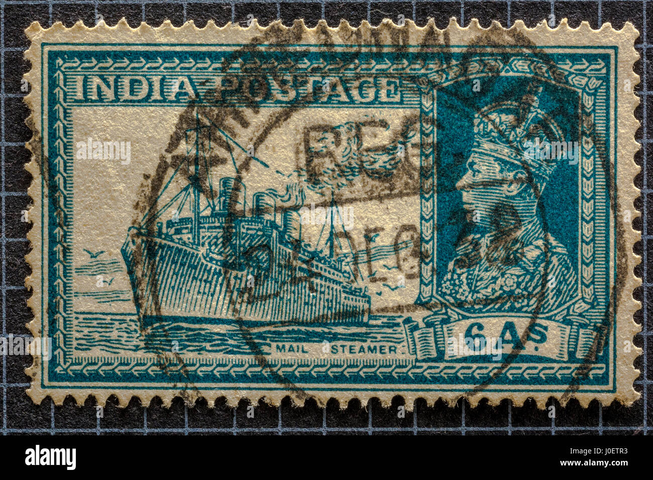 Transport mail steamer 6 annas, postage stamps, india, asia - Stock Image
