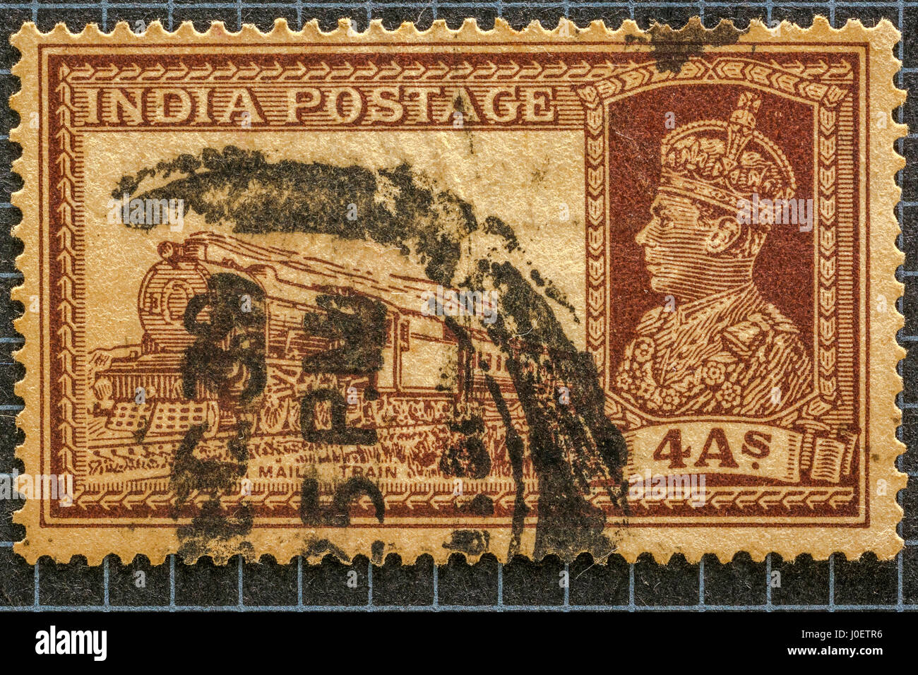 Transport mail train 4 as, postage stamps, india, asia - Stock Image