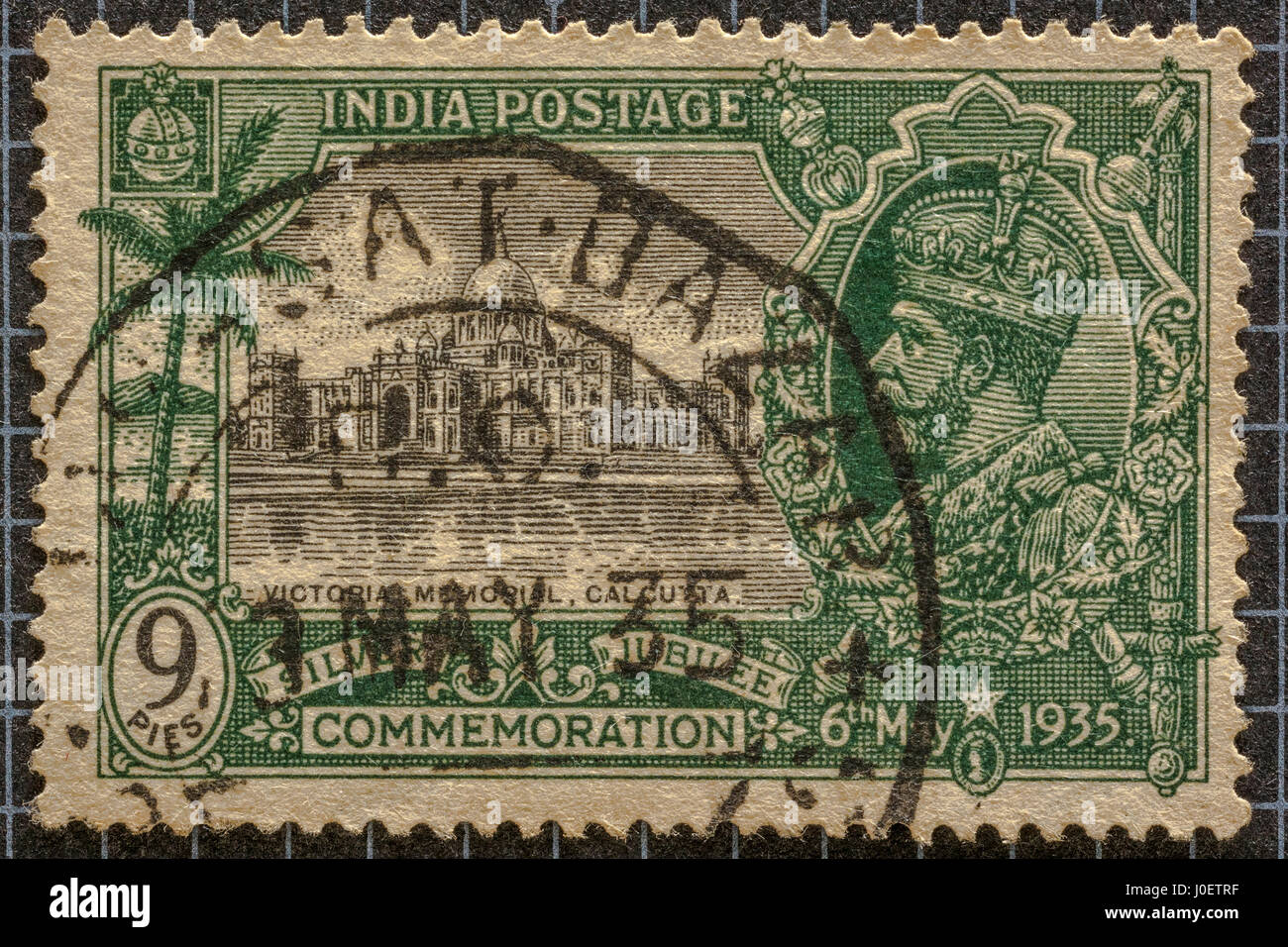 silver jubilee commemoration 1935 postage stamp 9 pies, Victoria memorial, calcutta, postage stamps, india, asia - Stock Image