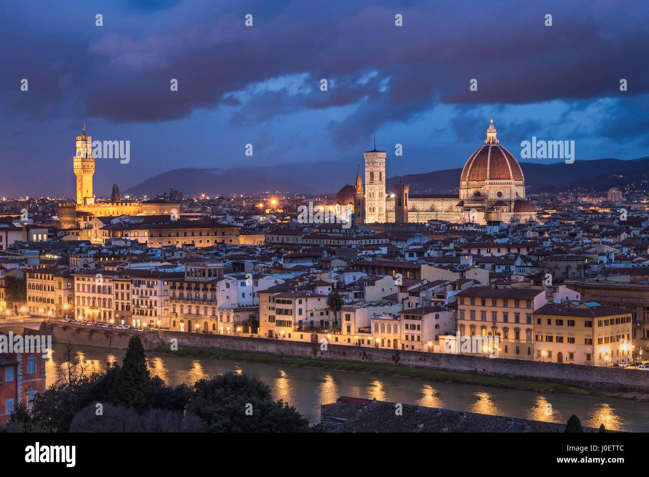 Florence after sunset taken from the Piazza Michelangelo - Stock Image