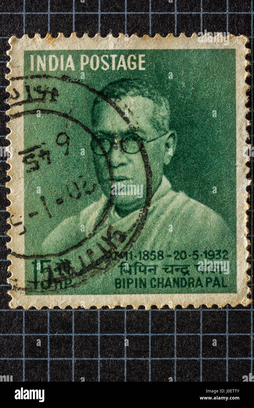 Bipin chandra pal, postage stamps, india, asia - Stock Image