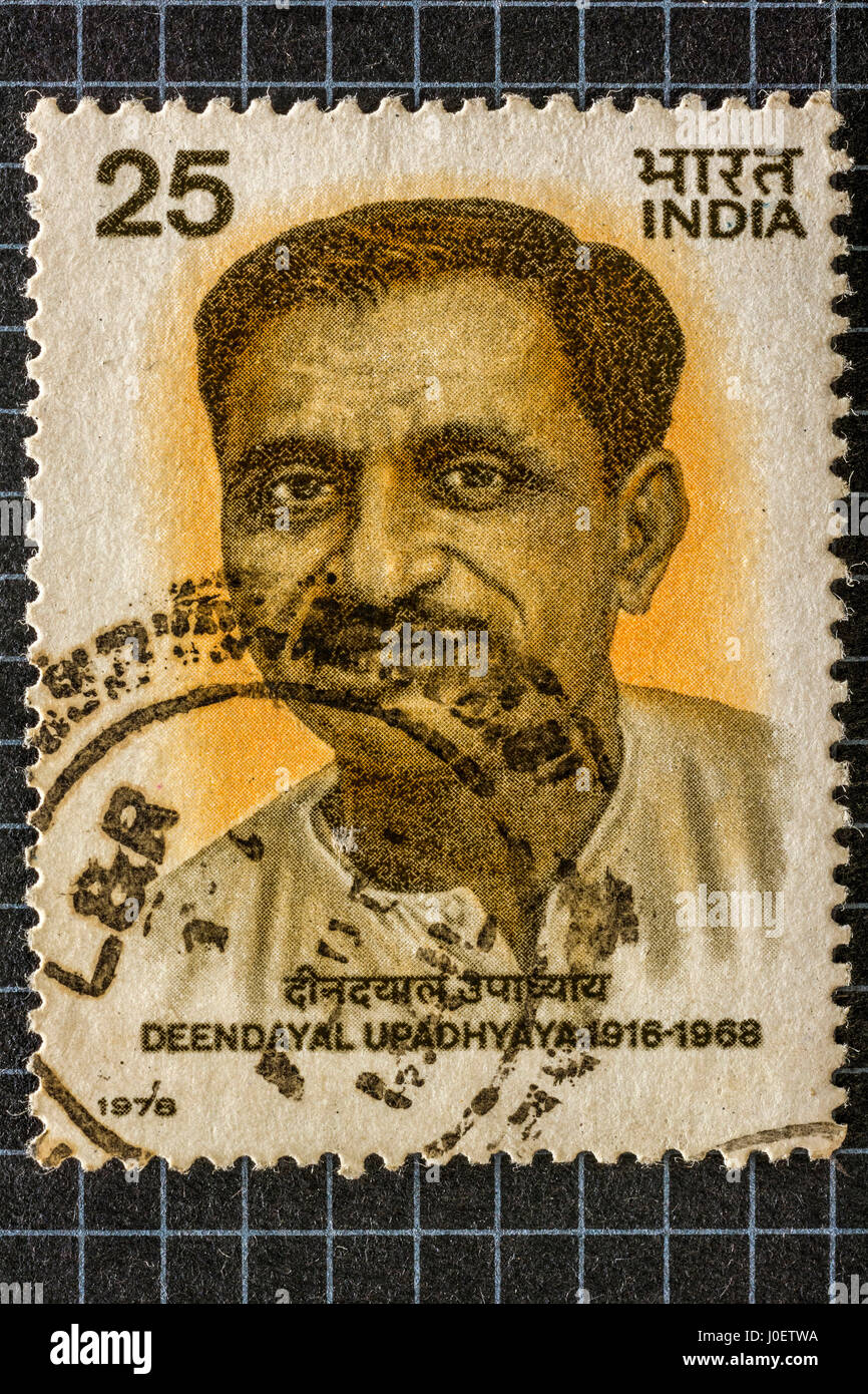 Deen dayal upadhyaya, postage stamps, india - Stock Image
