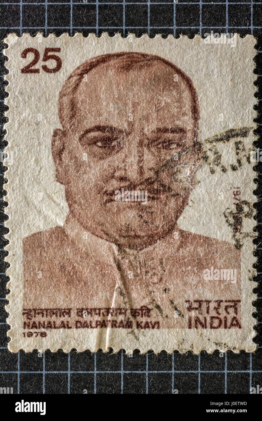 Nanalal dalpatram kavi, postage stamps, india, asia - Stock Image