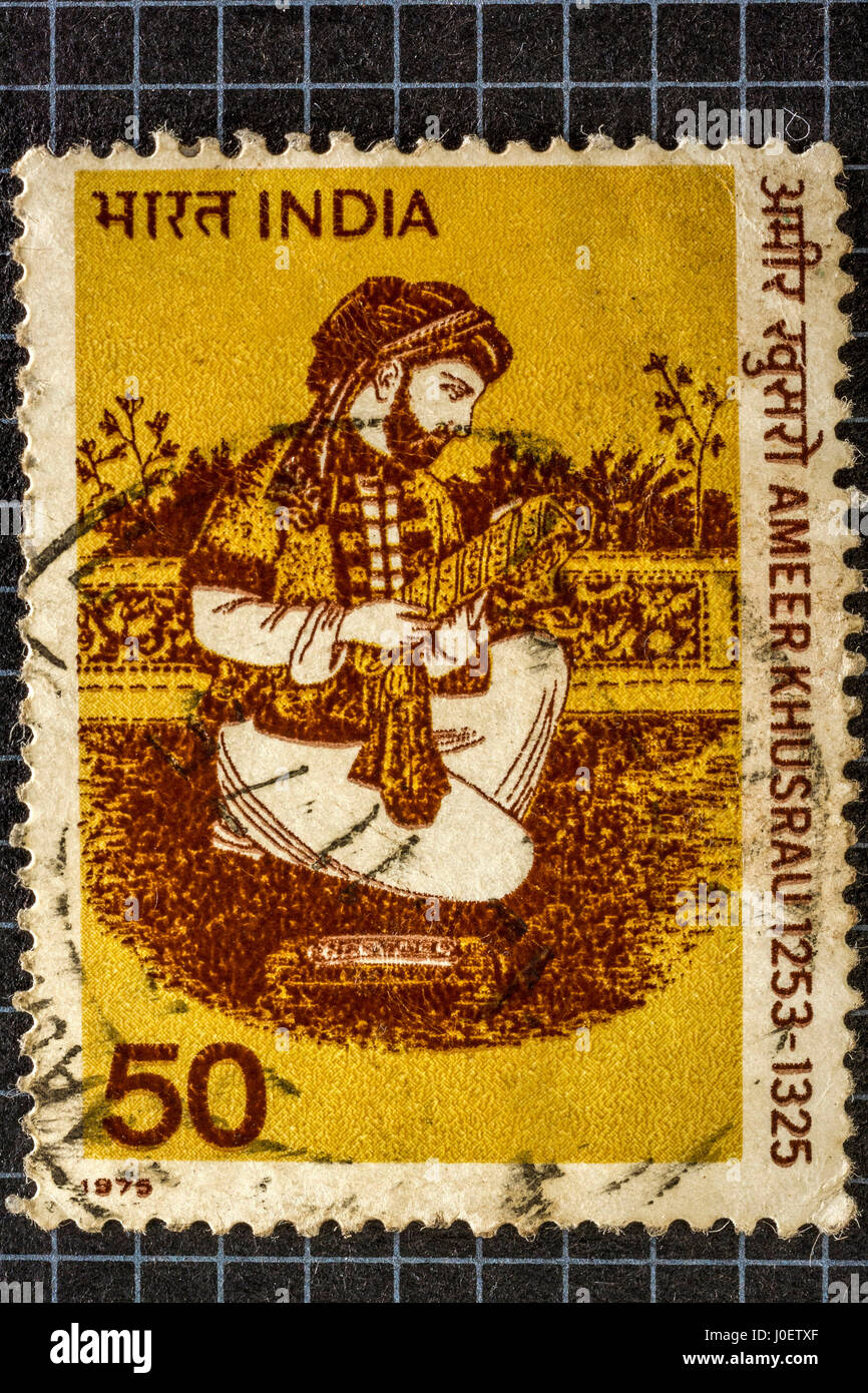 Amir khusrau, postage stamps, india - Stock Image