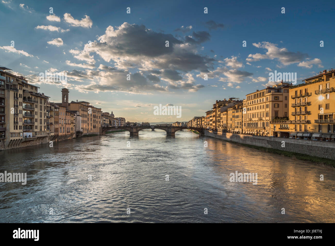 View from the Ponte Vecchio in Florence on a winter day - Stock Image