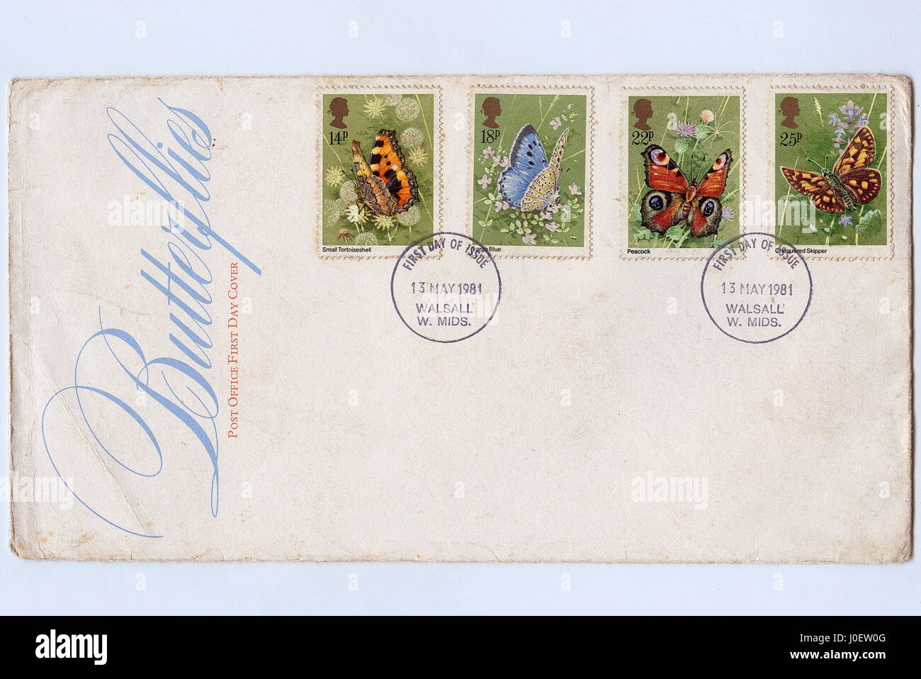 First day cover of butterflies issue postmark, postage stamps, walsall, west midlands, England, United Kingdom, - Stock Image