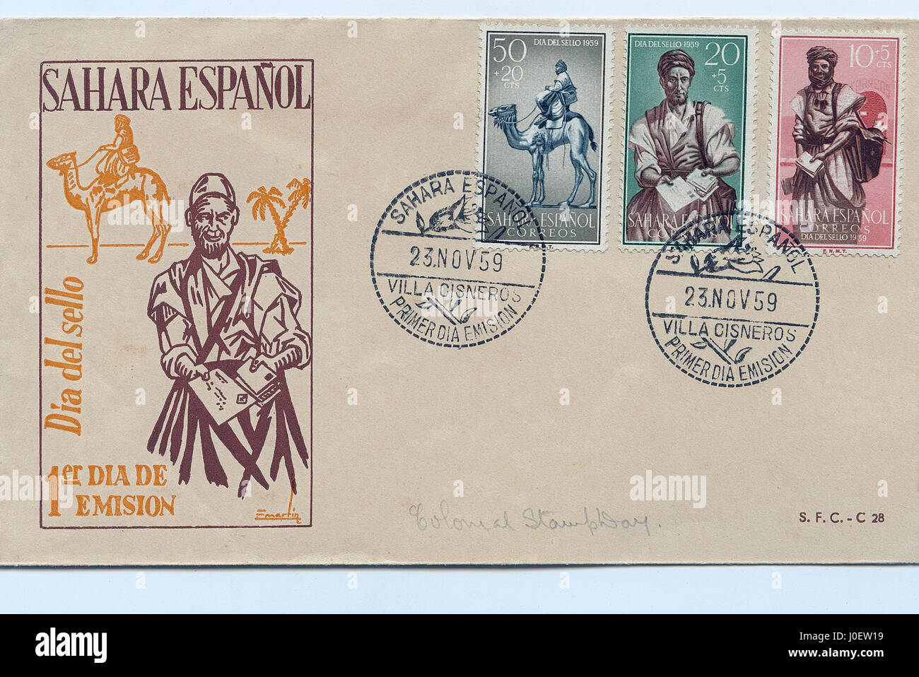 First day cover of sahara espanol, postage stamps - Stock Image