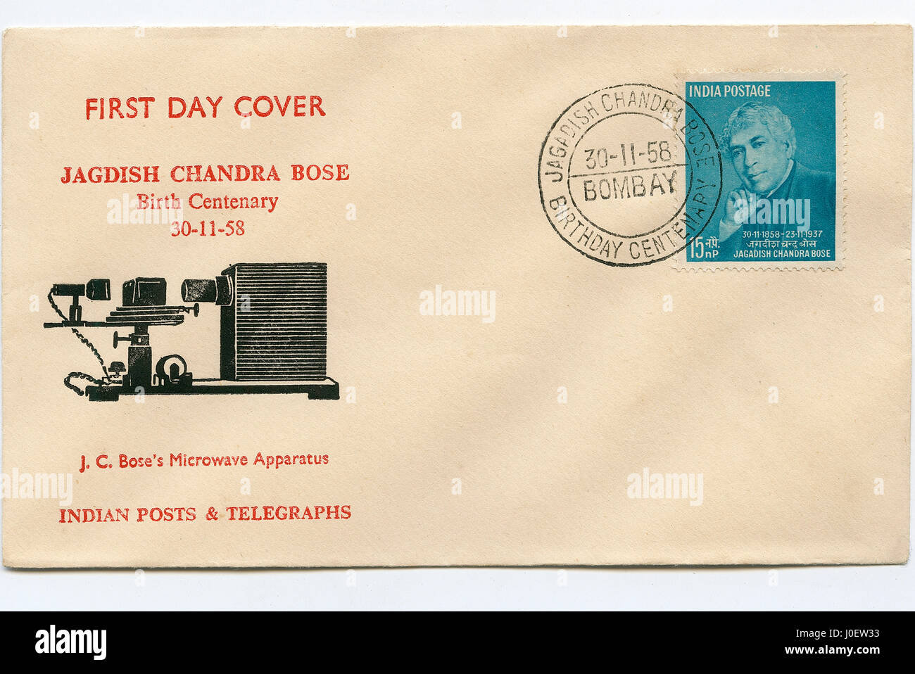 First day cover of jagadish chandra bose birth centenary, india, asia - Stock Image