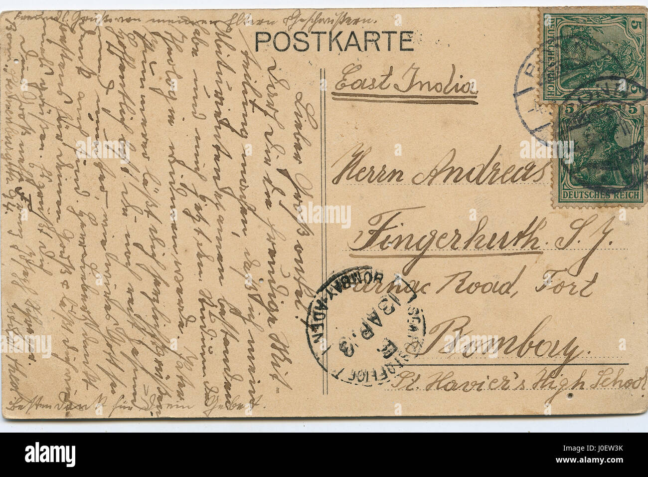 Post karte germany, postage stamps, india, asia - Stock Image