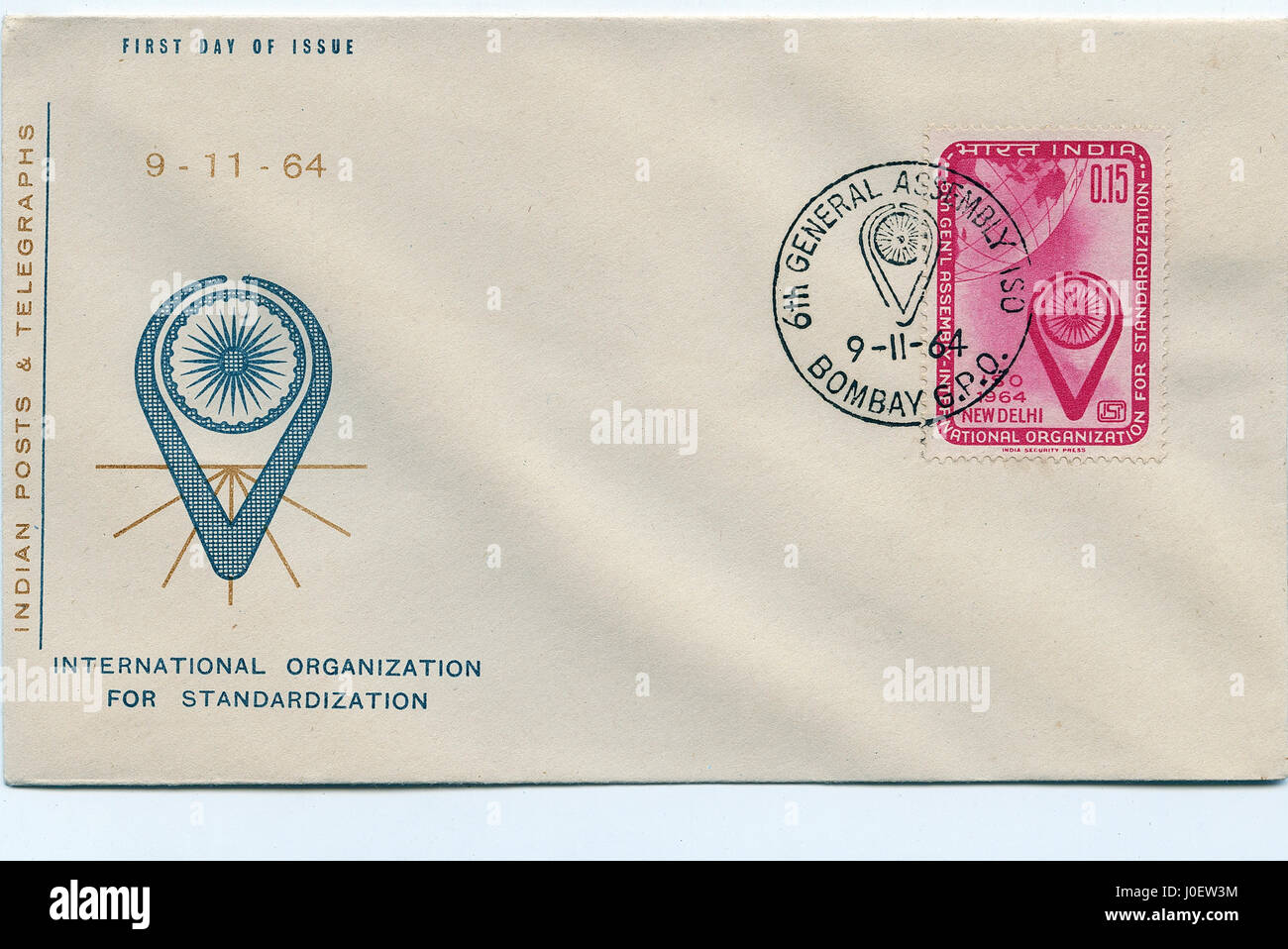 First day cover of international organization for standardization, india, asia - Stock Image