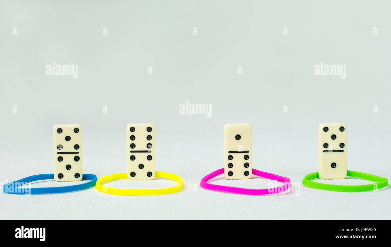 Personality traits concept based on colour types. Dominance, inducement, submission, and compliance. Domino represent - Stock Image