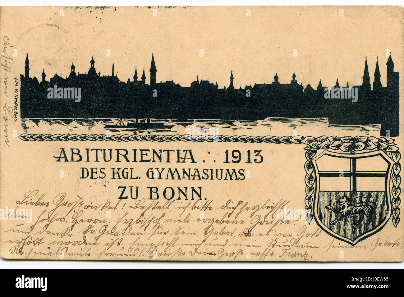 Postcard germany, postage stamps - Stock Image