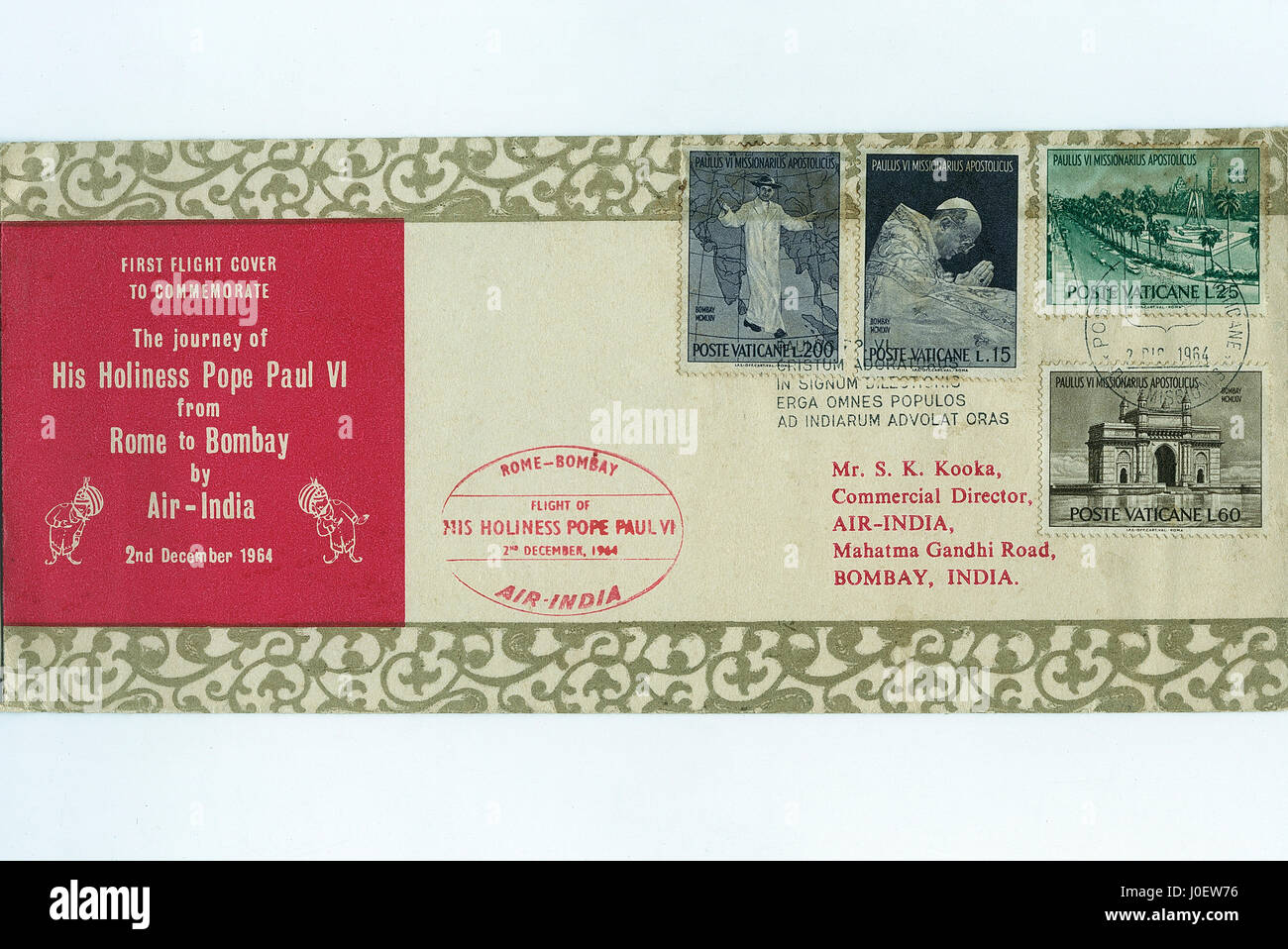 First flight cover to commemorate, postage stamps, india, asia - Stock Image