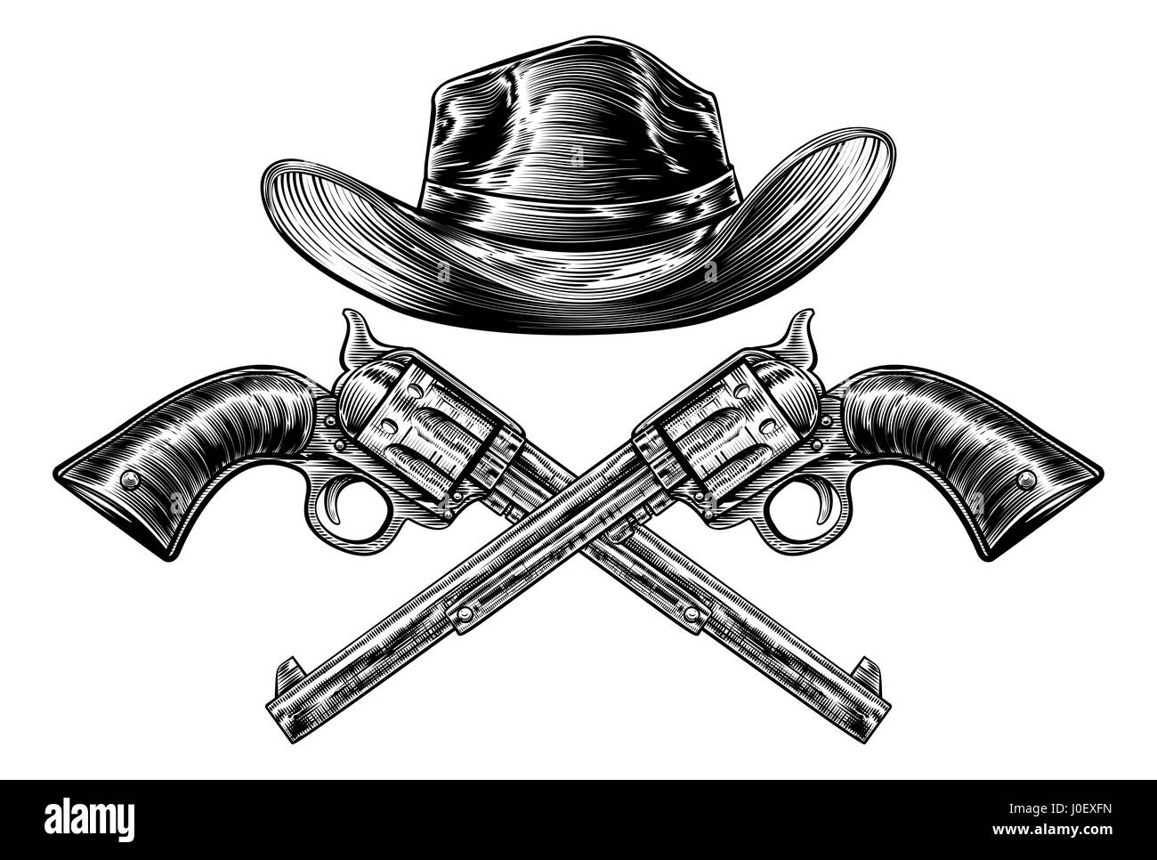 a21a7f43abc A cowboy western hat and pair of crossed pistol guns in a vintage etched  engraved style