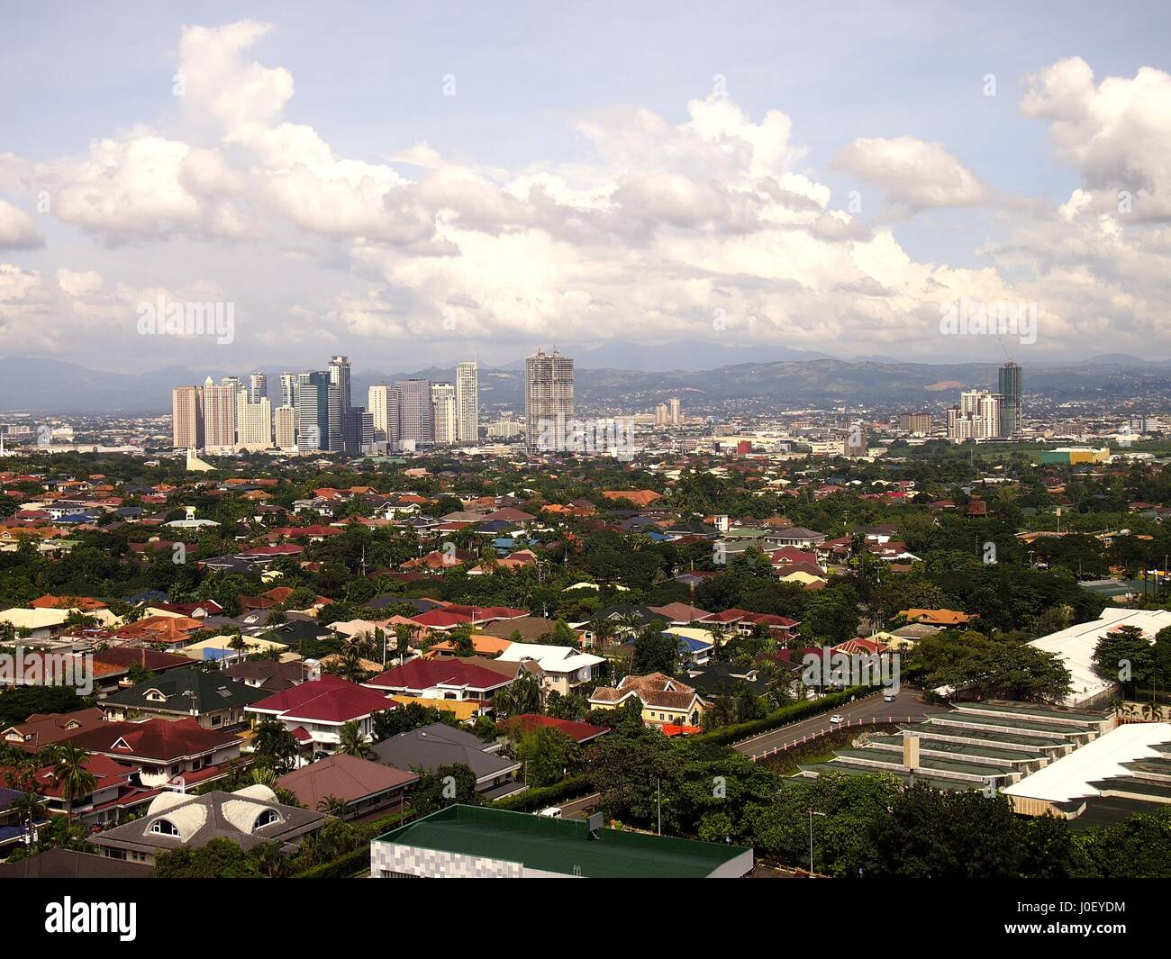 PASIG CITY, PHILIPPINES - OCTOBER 21, 2016: An aerial view of commercial and residential areas. - Stock Image