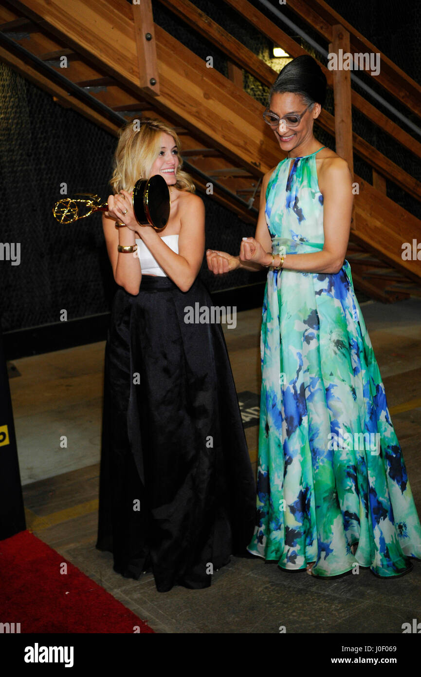 TV personalities Carla Hall (R) and Daphne Oz pose in the press room at The 42nd Annual Daytime Emmy Awards at Warner - Stock Image